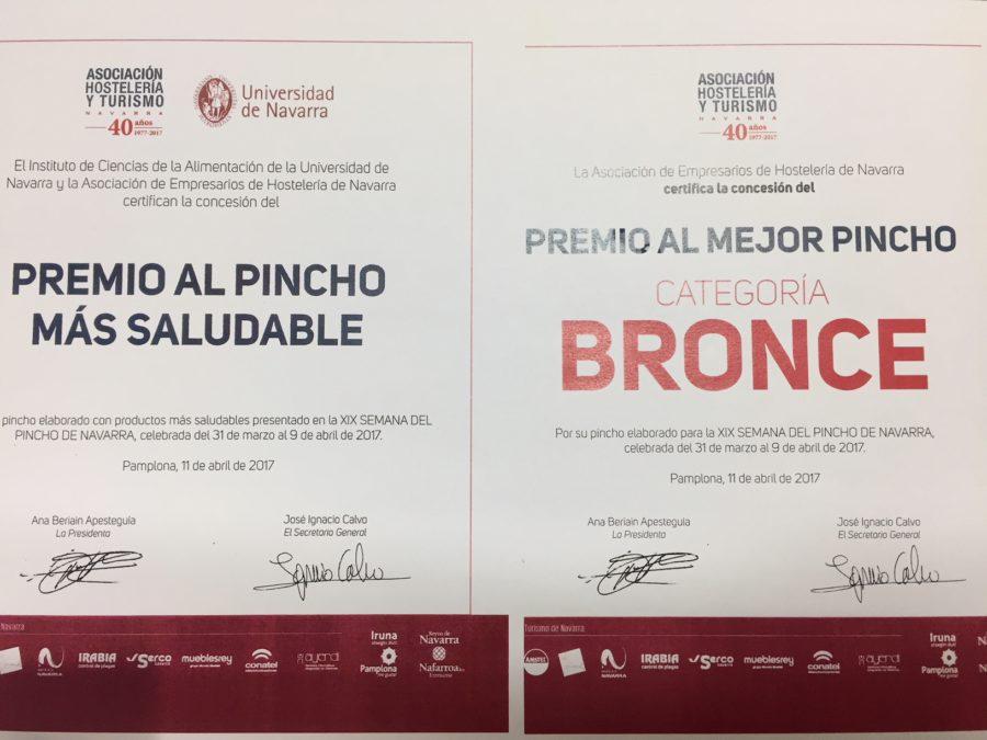 Café Iruña, premiado en la semana del pincho 2017