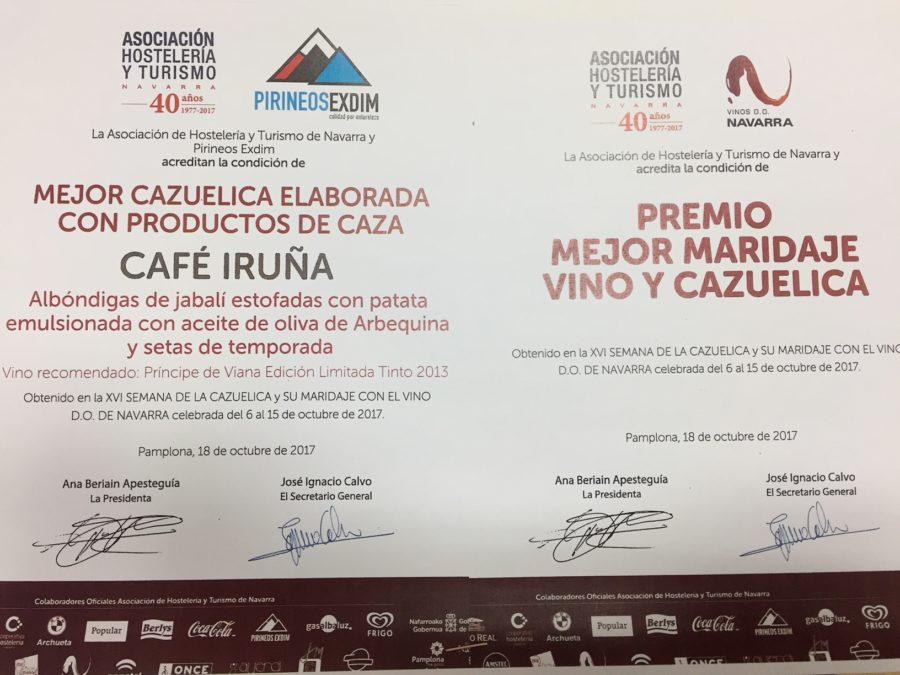 Café Iruña, premio al mejor maridaje y a la mejor cazuelica elaborada con productos de caza